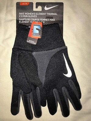 New Nike Women's Element Thermal 2.0 Run Gloves Black And Gray XS