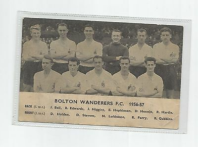 DAILY EXPRESS POSTCARD BOLTON WANDERERS 1956-57 SEASON  advert to back of card