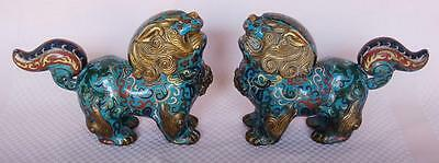 Handsome Chinese Export Blue Cloisonne Foo Dog Censer Pair With Gilded Accents