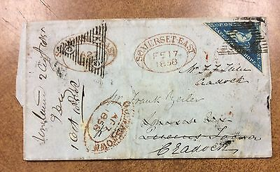 {BJ Stamps}  CAPE OF GOOD HOPE STAMPS #4  USED ON 1858 COVER triangle 4d