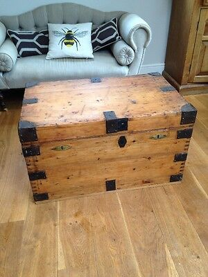 Antique Campaign Silver Trunk Blanket Box Storage