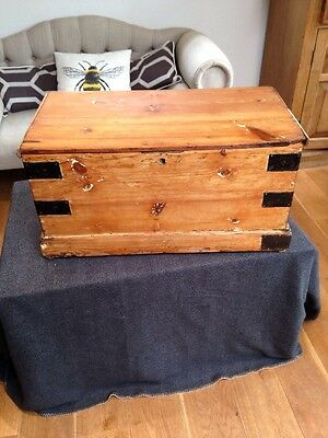 Antique Campaign Trunk Storage. Coffee Table