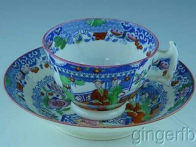 Staffordshire Soft Paste Oriental Decorated Cup & Saucer Ca 1810