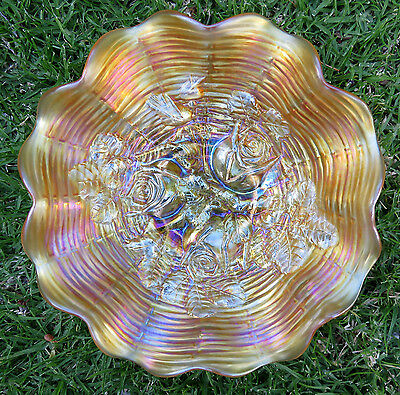 Northwood ROSE SHOW Marigold Carnival Glass Ruffled Bowl circa 1912