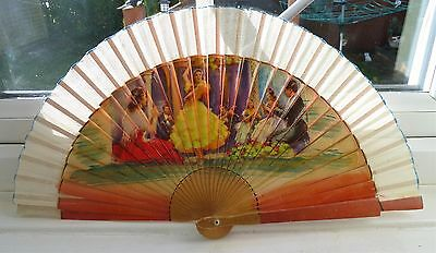 Vintage Wooden Hand Painted Fan
