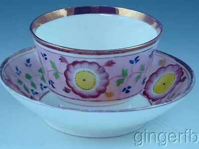 Antique Staffordshire Handleless Pink Luster Cup & Saucer With Flowers Ca 1830