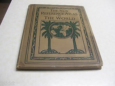 1930 The New Reference Atlas of the World Antique Book CENSUS & COLOR MAPS