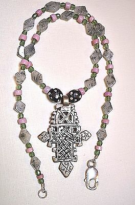 Ethiopian Coptic Christian Cross Necklace With Tourmaline Included Quartz Beads
