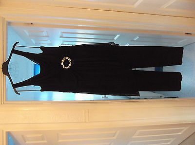 Women's Elegant Black, JOANNA HOPE, Jumpsuit All In One Trouser Suit UK Size 18