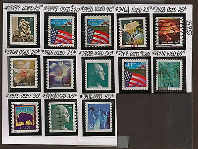 US 15, 2000-01 Flora, Rate Flags+Stamps Used(15 Yrs Old)VF NH Scott#3447-79  S64