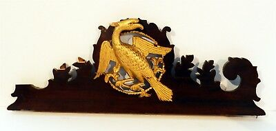 Antique Mahogany Wooden Pediment with Exceptional Hand Carved Gilt Phoenix