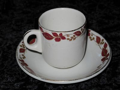 Vintage Coffee Cup & Saucer Red Leaves John Maddock 60s