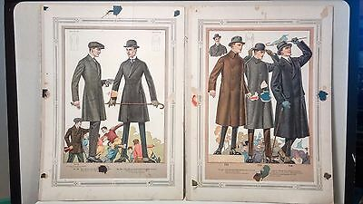 Antique Clothing Men's Fashion Tailor Catalog Illustration Page Poster Prints 2
