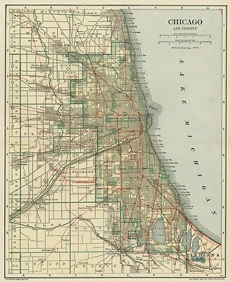 CHICAGO & Suburbs Map: Authentic 1907-1910 (Dated)  showing Stations & Rail Grid