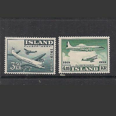 ICELAND:  pair [#C30 &  #C31] AVIATION stamps – MNH --