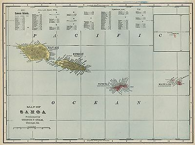 Samoa Map: Authentic 1899 shows USA & German Possessions; Detailed
