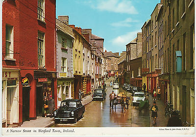 A Narrow Street In Wexford Ireland 1969 Used John Hinde Postcard Stamped 2/170