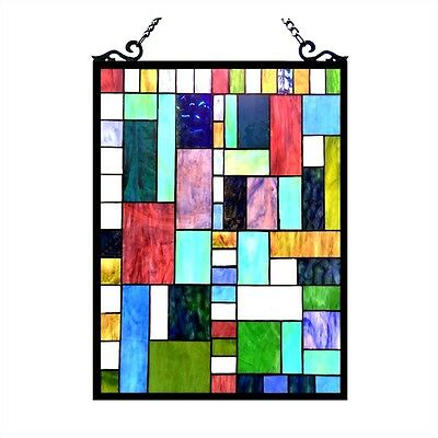 Stained Glass Tiffany Style Window Panel Modern Design  ~~LAST ONE THIS PRICE~~
