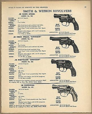 . 1969 SMITH & WESSON 36 Chiefs Special, 37 38 Airweight,Centennial Revolver AD