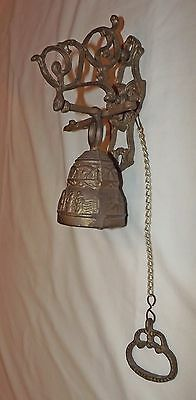 BRASS Metal Ornate BELL DOOR KNOCKER~Wall Mounted~SHOP/Cottage/GARDEN/Hand/Pub
