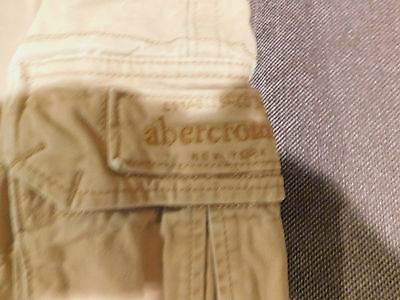 Boys Abercrombie Kids Button Fly Cargo Tan/light Brown Color Shorts Size 14