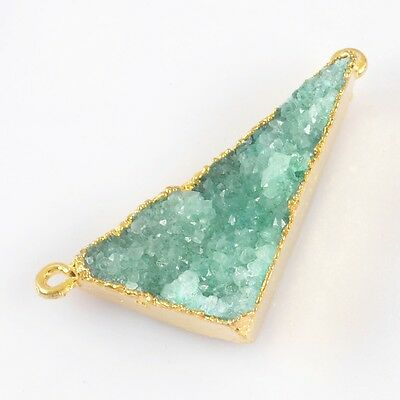 Triangle Green Agate Druzy Geode Connector Gold Plated B027821