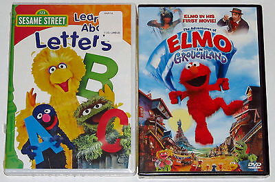 Sesame Street DVD Lot - Learn About Letters (New) Elmo in Grouchland (New)