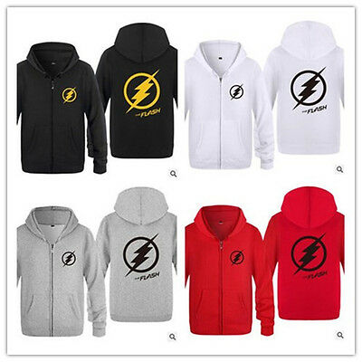 The Flash Cosplay personality Pure cotton zipper fashion hooded hoodie S-XXL