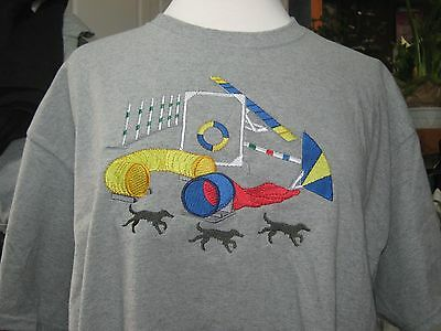 New Dog Agility Scene Embroidered T-Shirt