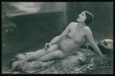 aa smoking flapper on floor French nude woman original 1910-1920s photo postcard