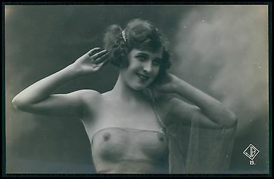 aa early Biererer French nude veiled woman original c1910-1920s photo postcard