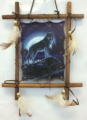 "NEW 11""x 9"" Night Wolf And Moon Dream Catcher Wall Hanging Decor Framed Beads"