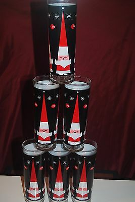 Vintage Dairy Queen Santa Clause Tall Glasses - Set of 6 Glasses