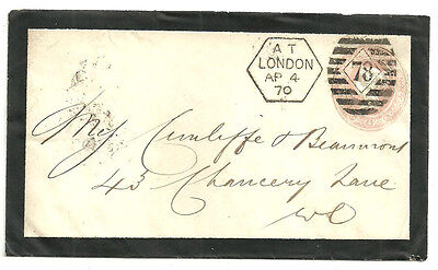 1D Pink Mourning Envelope Cancelled By A London 78 Hexagonal Duplex 1870
