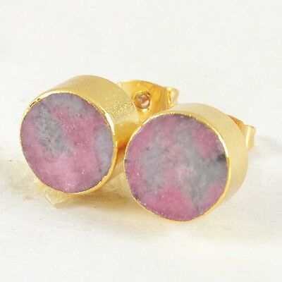10mm Round Natural Pink Thulite Stud Earrings Gold Plated H83107
