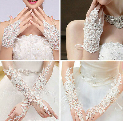Women Lace Rhinestone Long Fingerless Wedding Accessory Bridal Party Gloves