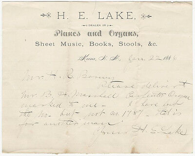 1886 Keene New Hampshire Organ Delivery Letter Billhead - Music & Piano
