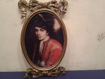 Antique  Hand  Coloured  Print  Of  Young  Man  In  Gilt  Frame