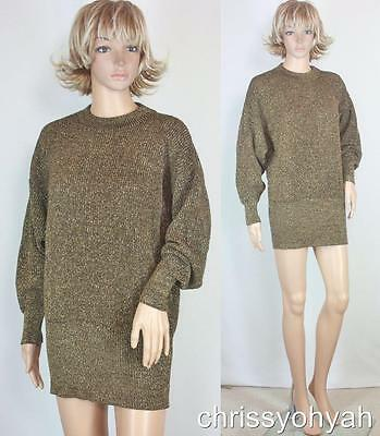 VTG 80s Parisian Metallic Gold Glitter Sparkle Ribbed Made in Italy Sweater NWT