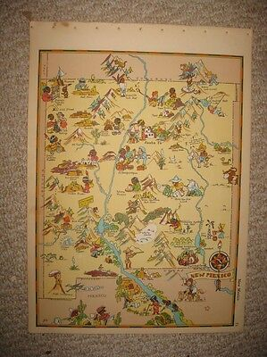 Antique 1935 New Mexico Our Usa A Gay Geography Cartoon Pictorial Map Stereotype