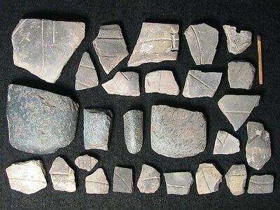 7200Y.o: Collection Of 4 Axes + Sherds Stone Age Neolithic Linear Pottery Cult