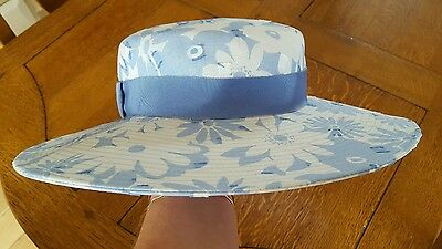 Stunning Jaeger Blue and White Floral Hat. Wedding.