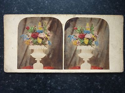Stereoview Nice Early Colour Image Of A Mixed Floral Display In Pedestal Vase