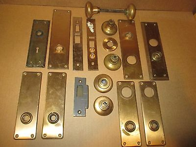 Lot of Vintage Brass Door Knobs and Face Plates / Back Plates