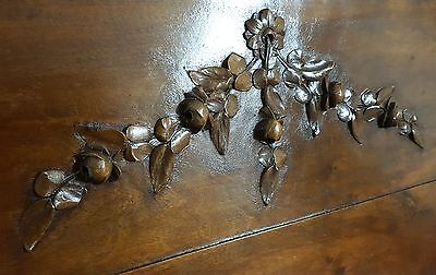 FLOWER PANEL LARGE ANTIQUE FRENCH WALNUT CARVED WOOD WALL PEDIMENT 28.98 in