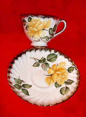 Mint vintage ADDERLEY England CUP SAUCER set GOLDILOCKS yellow rose REAL GOLD!