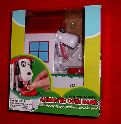 NEW animated Battery Operated Chow Hound DOG Beagle COIN BANK w Doghouse