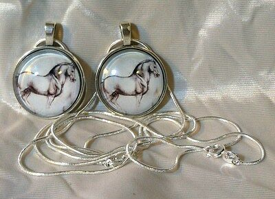 2 MICHAELANGELO Drawing GLASS DOME HORSE PENDANTS SS Snake Chain marked Italy
