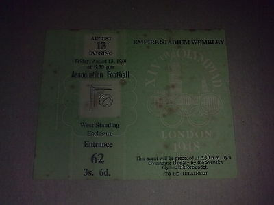 Ticket Olympic Games LONDON 1948 Football FINAL SWEDEN - YUGOSLAVIA 13.08.1948