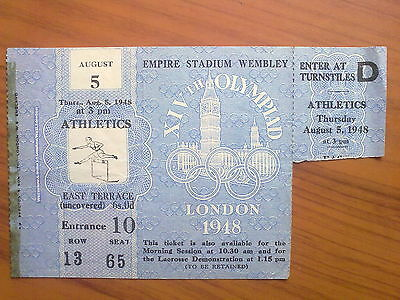 Ticket Olympic Games LONDON 1948 - ATHLETICS 05.08.1948 (2)